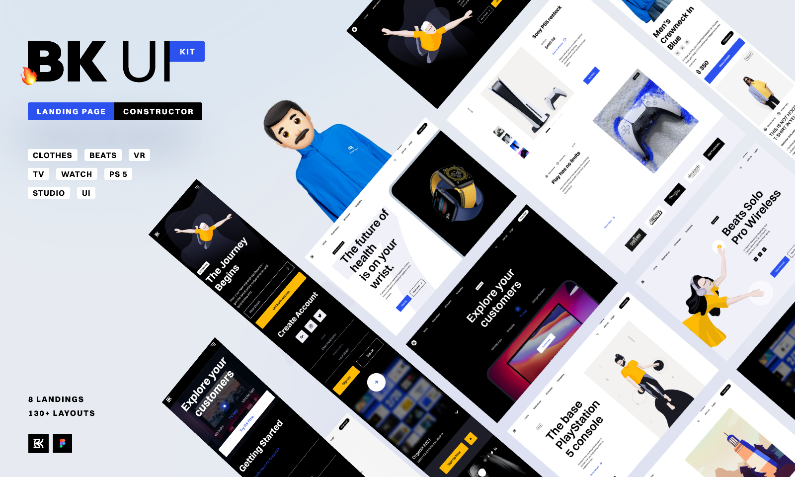 Landing page UI kit from UIGarage