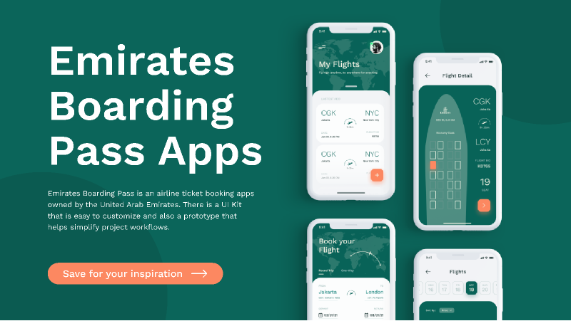 Emirates Boarding Pass App UI Kit from UIGarage