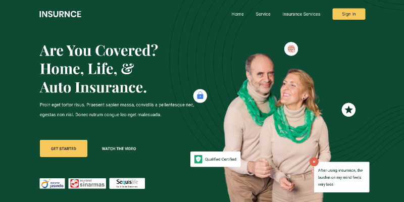 Landing Page - Insurance from UIGarage
