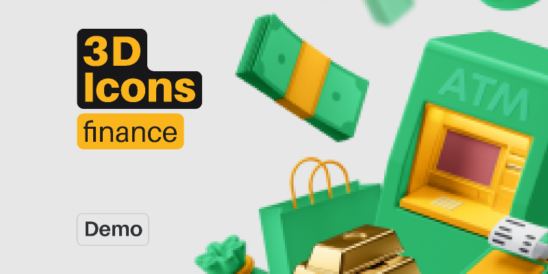 3D Icons Pack - Finance (Demo) from UIGarage