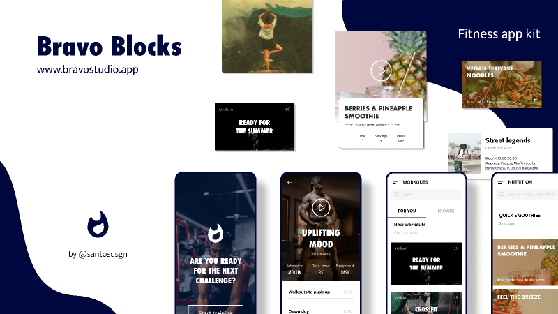 Figma - Bravo Studio Blocks - Fitness app | Bravo Block for a fitness app: get inspiration or use every card or frame you want when building ...