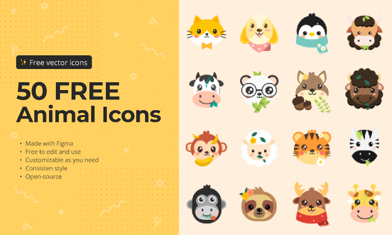 50 free animal icons from UIGarage